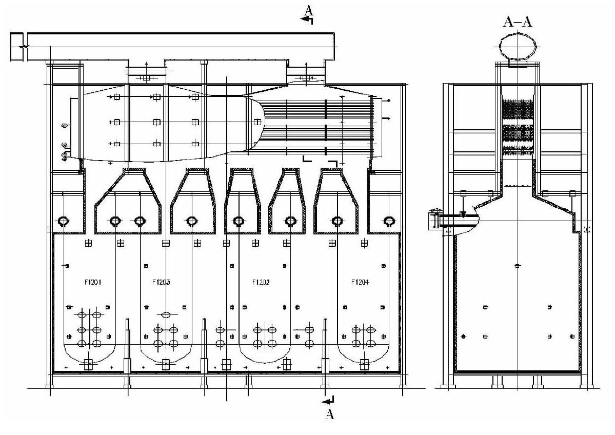 重整装置四合一加热炉结构图